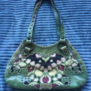 Isabella Fiore Green Shoulder Bag Purse Tote